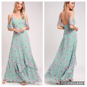New! Lulu's Mint Green Floral Print Maxi Dress